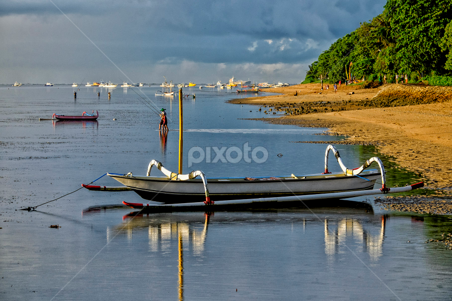 Parked by Ferdinand Ludo - Transportation Boats ( bali, indonesia, beach, sanul, early morning, landscape,  )