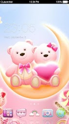 Cute Bear love  honey with Pink hearts DIY Theme APK screenshot thumbnail 1