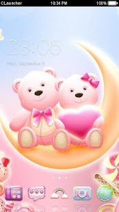 Cute Bear love honey with Pink hearts DIY Theme - náhled