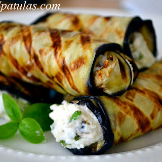 Grilled Eggplant Rolled with Ricotta and Basil