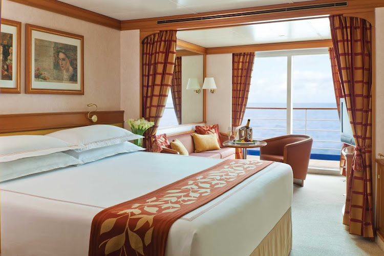 At 356 square feet, Seven Seas Navigator's Concierge Suite features a European king-size bed, marble bathroom, privacy balcony, sitting area, flat screen TV, mini-bar and free wi-fi. It fits three comfortably.