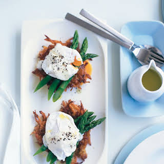 Soft-poached Eggs With Sweet Potato Hash Browns.