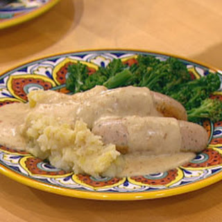 (Veal) Bockwurst In A Creamy Mustard Sauce With Smashed Potatoes & Broccolini