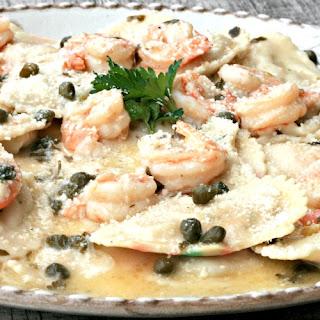 Lobster Ravioli with Shrimp Garlic Caper Sauce #SundaySupper.