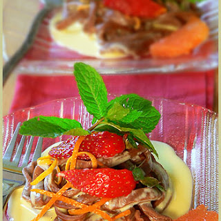 Chocolate Tagliatelles and its cardamom orange custard.