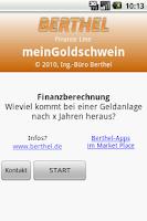 Screenshot of myGoldpiggy financecalculation