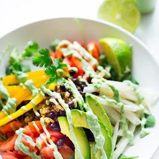 Veggie Burrito Bowl w/ Creamy (Vegan) Cilantro Sauce.