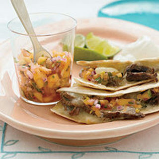 Steak Quesadillas with Hot Peach Salsa