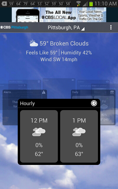 CBS Pittsburgh Weather- screenshot