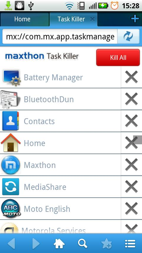 Maxthon Add-on:Task Killer - screenshot