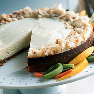 Tropical Cheesecake with Coconut Shortbread Crust.