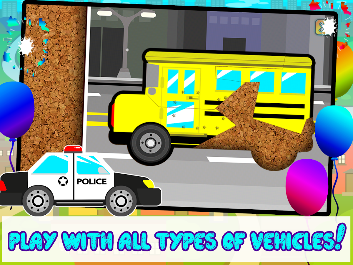 kids car vehicles puzzle game screenshot