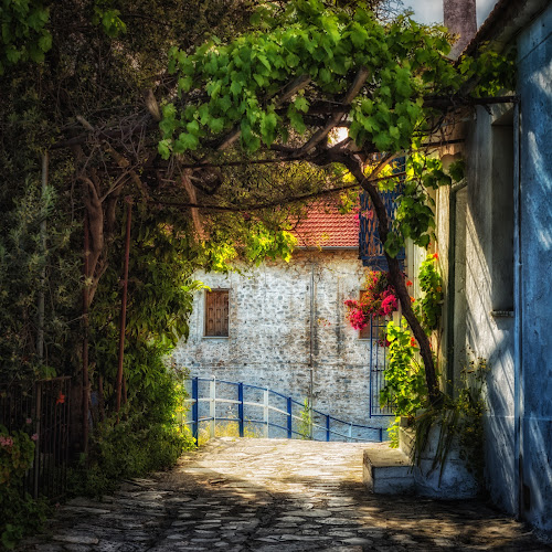 Agyo Kiriaki by Dobrinovphotography Dobrinov - City,  Street & Park  Street Scenes ( old, famous place, europe, brick, street, sandstone, architecture, crete, romance, alley, traditional culture, village, color image, idyllic, chania, stucco, residential district, greece, old-fashioned, window, residential structure, outdoors, summer, town, sidewalk,  )