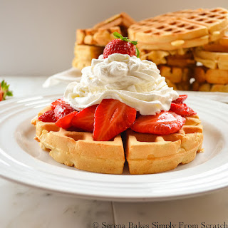 Perfect Waffles with Strawberries and Whip Cream.