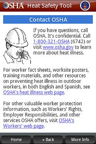 OSHA Heat Safety Tool - screenshot