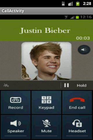 Justin Bieber Calls - screenshot