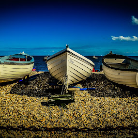 Boats at Selsey beach by Bela Paszti - Transportation Boats ( west sussex, water, boats, sea, beach, selsey, landscape,  )