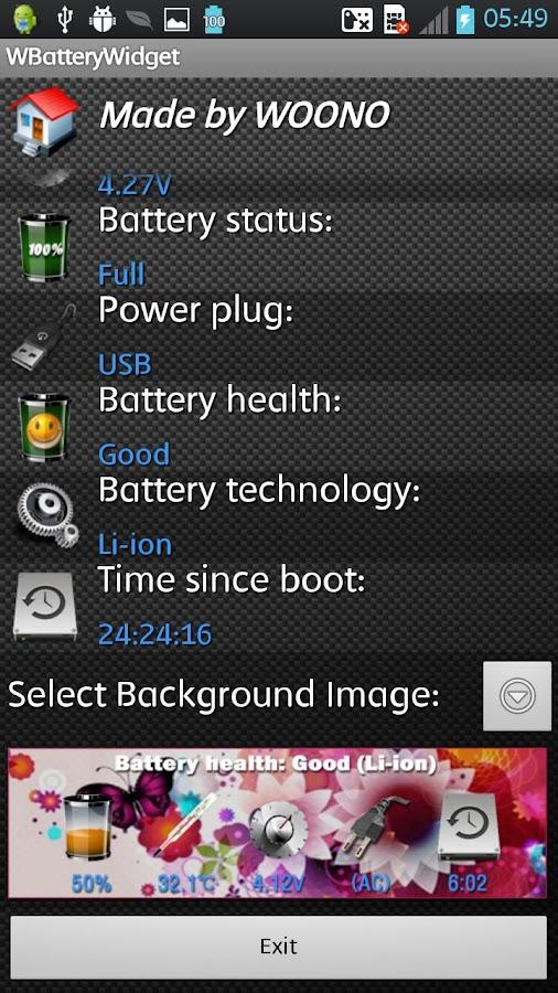 WBatteryWidget - screenshot