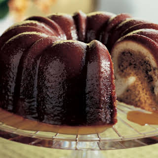 Pecan Molasses Bundt Cake with Bourbon Glaze.