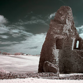 Hadleigh Castle Infrared by Christine Ayre - Landscapes Mountains & Hills ( hadleigh, ir, ruin, castle )
