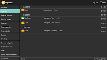 Screenshot of Home Bookkeeping