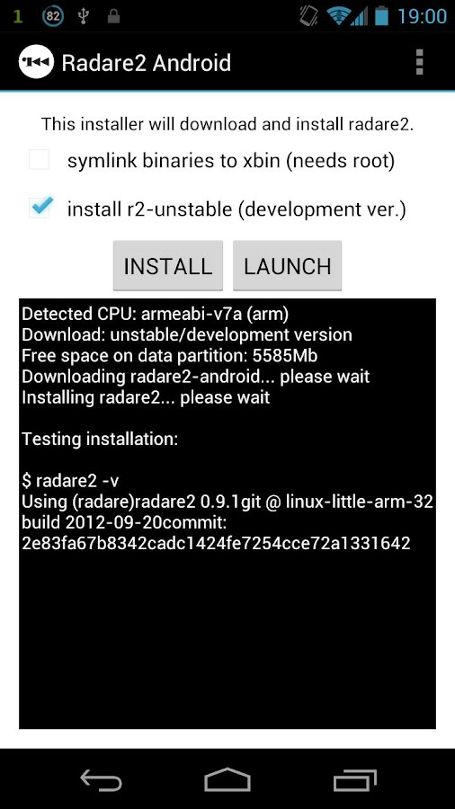 Radare2 for Android - screenshot