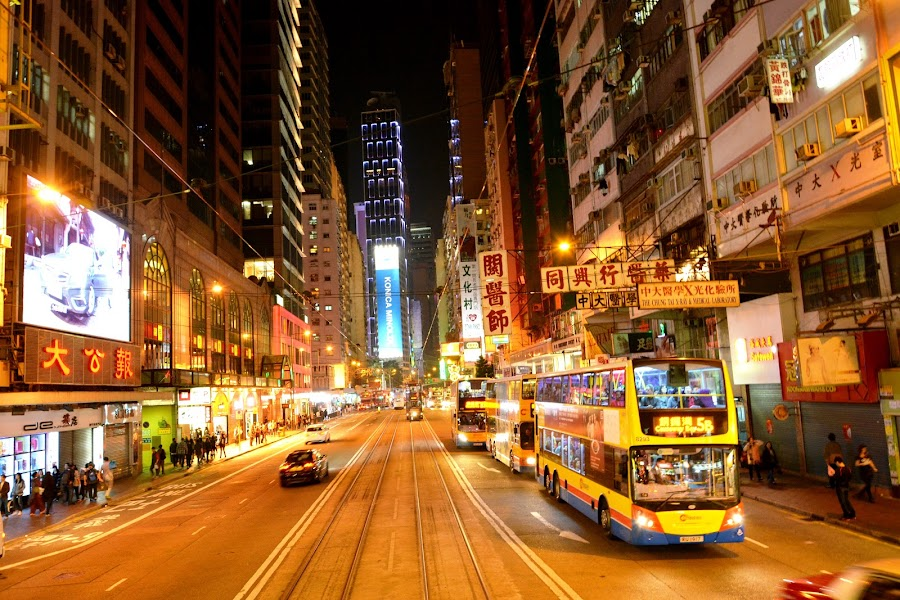 Hong Kong by Chor Yin Lim - City,  Street & Park  Night ( lights, colourful, bus, street, buildings, busy, night, nightscape )