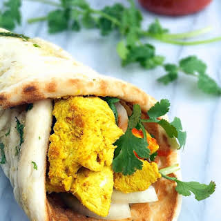 Chicken Satay Naan Wraps with Creamy Peanut Sauce.