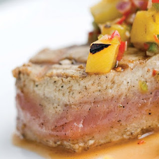 Yellowfin Tuna with Grilled Pineapple Salsa.