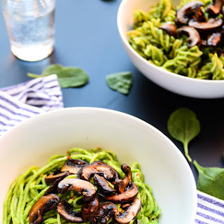 Lean Green Avocado-Spinach Pesto Pasta with Sautéed Mushrooms (vegan, gf).