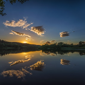 Final Glow by Graham Kidd - Landscapes Sunsets & Sunrises ( water, clouds, blue, sunset, reflections )