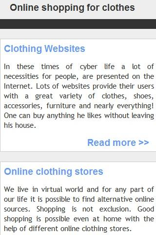 Online shopping for clothes
