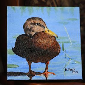 Mrs. Mallard by Roberta Janik - Painting All Painting ( hen mallard, female mallard, duck, resting mallard, mallard duck )