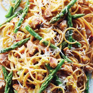 Spaghetti Carbonara with Chicken Sausage.