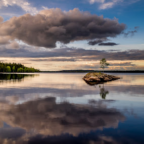 Island Blues by Colin Harley - Landscapes Waterscapes ( water, clouds, sweden, reflection, peaceful, green, d5200, lake, forest, island, tranquil, småland, tree, blue, halland, sunset, sunrise, nikon, Free, Freedom, Inspire, Inspiring, Inspirational, Emotion,  )