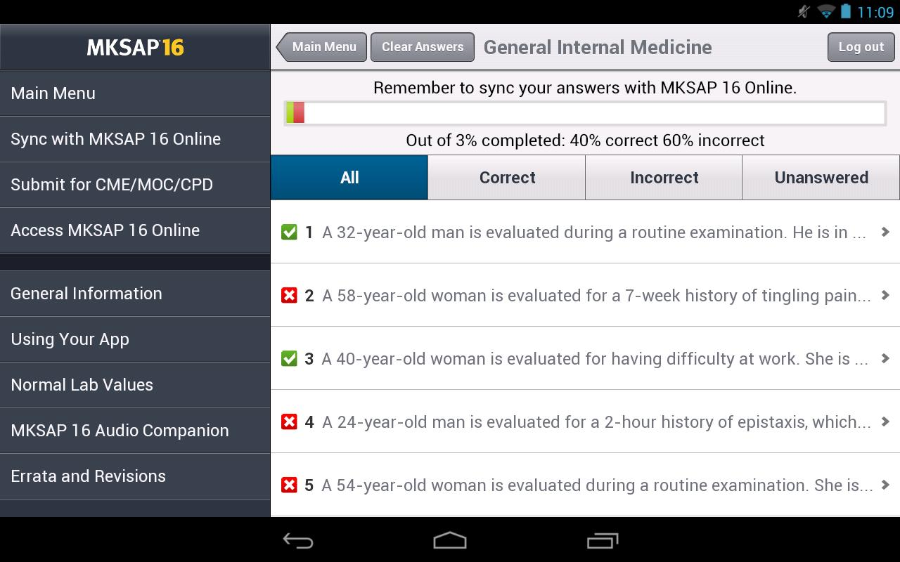 MKSAP 16 Tablet Edition - screenshot