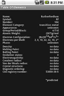 Table Of Elements- screenshot thumbnail