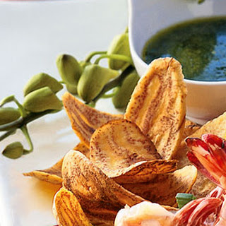 Plantain Chips with Warm Cilantro Dipping Sauce.