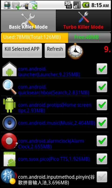 Turbo Task Killer - screenshot