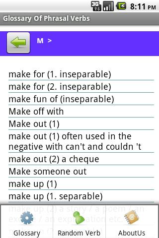 Dictionary of Phrasal Verbs- screenshot