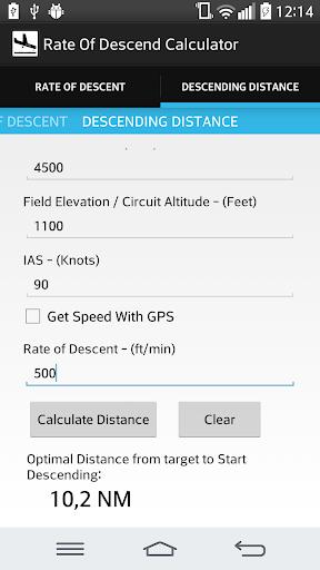 Rate of Descent Calculator
