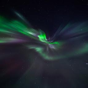Aurora corona by Benny Høynes - Abstract Patterns ( canon, corona, colors, aurora, norway )