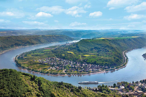 Uniworld-SS-Antoinette-Rhine-aerial - Sail along the Rhine River past stately castles, lush hillsides and storybook villages aboard Uniworld's S.S. Antoinette.