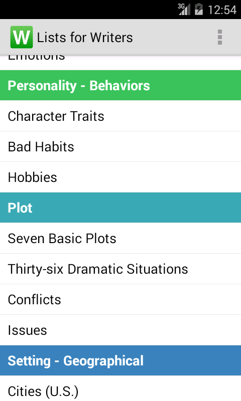 Lists for Writers screenshot #3