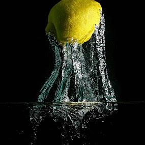 Lemon #2 by Johnny Gomez - Food & Drink Fruits & Vegetables ( water, splash, high speed, tentacles, lemon )