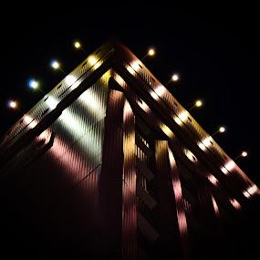 Hotel in Vitebsk by Mary Ozh  - City,  Street & Park  Night ( #night #hotel #art #vitebsk #belarus )