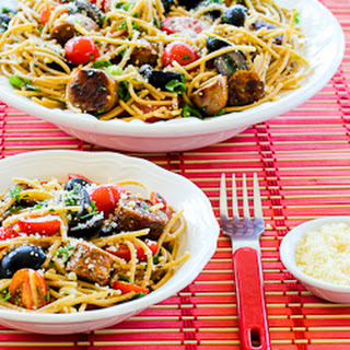 Whole Wheat Spaghetti Salad with Italian Sausage, Tomatoes, Olives, and Basil Vinaigrette