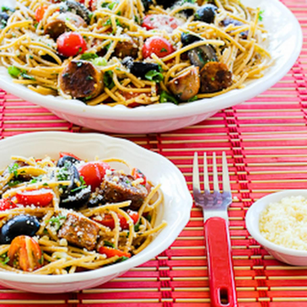 Whole Wheat Spaghetti Salad  as soon as Italian Sausage, Tomatoes, Olives, and Basil Vinaigrette