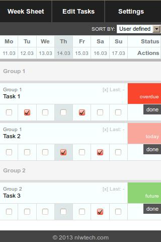 Week Sheet Task Manager