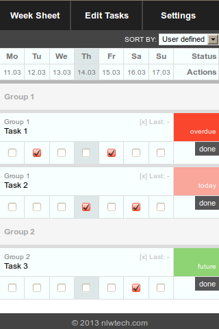 Week Sheet Task Manager - screenshot
